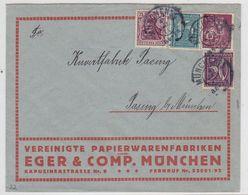 Deutsches Reich 1922 Brief Der Vereinigten Papierwarenfabriken EGER & Comp München Nach Pasing Mit MIF - Duitsland