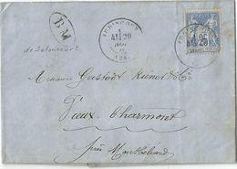 DOUBS SAGE 25C LETTRE DEFAUT TYPE 17 AUDINCOURT 1876 + BM SELONCOURT POUR VIEUX CHARMONT - 1849-1876: Période Classique