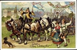 Artiste Cp Oktoberfest, Münchner Kindl, Dackel, Brauerei Kutsche, Tracht - Auguri - Feste