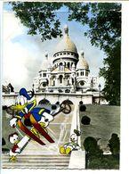 CPSM  10.5 X 15 PARIS  Basilique Sacré-Coeur De Montmartre   Descente Périlleuse Donald  Riri Fifi Loulou (2/3) - Sacré Coeur