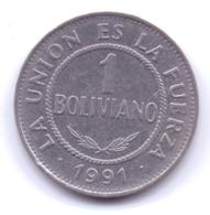 BOLIVIA 1991: 1 Boliviano, KM 205 - Bolivia