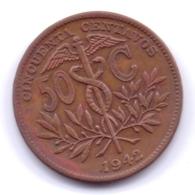 BOLIVIA 1942: 50 Centavos, KM 182a - Bolivia