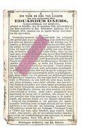 P 954. Z.E.H. EDUARDUS DAEMS - Vicaris-generaal Van Green-bay - °SCHAFFEN 1826 / +BAY-SETTLEMENT (AMERIKA) 1879 - Andachtsbilder