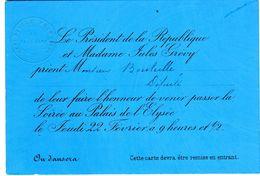 Carton D' Invitation Du Président De La République Jules GREVY Au Député BOUTEILLE Au Palais De L' Elysée - Historical Documents