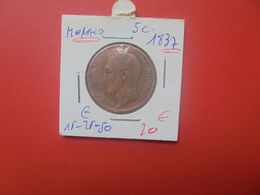 "MONACO 5 Centimes 1837 ""M""  (A.14) - 1819-1922 Honoré V, Charles III, Albert I"