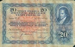 20 FRANCS 1939 - Suiza