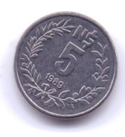 URUGUAY 1989: 5 Nuevos Pesos, KM 92 - Uruguay