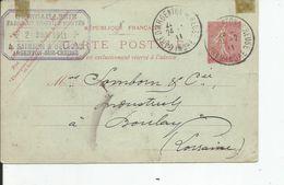 ENTIER POSTAL 10 Cts SEMEUSE LIGNEE ROSE   19011  De ARGENTON Pour BOULAY (LORRAINE ) Tampon QUINCALLERIE  ARGENTON - Entiers Postaux