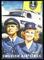Publicité - SWEDISH AIR LINES ABA - Reproduction Carte Suédoise - Advertisements