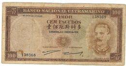 Portuguese  Banco National Ultramarino TIMOR 100 Escudos 1959 V. Fine. Etat - Portugal