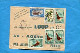Marcophilie Nouvelle Calédonie-lettre  >Françe-cad Hexagonal NAKETTY-1969-5- Stamps N°345-9-birds-+351 Coquillage - Lettres & Documents