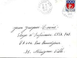 Lettre Cachet Manuel Militaire Hexagone Tirets Cognac Air I8 -I I966 - Marcofilia (sobres)