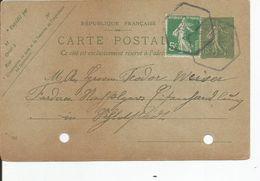ENTIER POSTAL  10 Cts VERT SEMEUSE LIGNEE  1921  De ECHERY ( 68 ) Pour Allemagne   ETAT !!! - Entiers Postaux