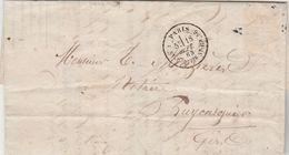 LAC Cachet PARIS R St DOMque St Gn, 56 18/9/1863 Timbre Absent Pour Puycasquier  Cachet Perlé Gers Passe Auch - Ambulant - Marcofilie (Brieven)