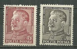 POLAND MNH ** 621-622 Amitié Polono Russe, STALINE - Unused Stamps
