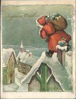 JOYEUX NOEL WEIHNACHTEN CHRISTMAS ILLUSTRATEUR CP DOUBLE POP UP PERE NOEL JOUET CHEMINEE ENFANT KINDER  1959  PAILLETTE - Santa Claus