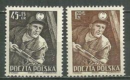 POLAND MNH ** 687-688 Journée Des Mineurs, Mineur Et Foreuse, Mine, Charbon, Lampe De Mineur - Unused Stamps