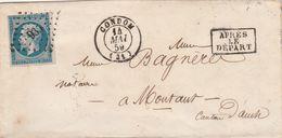 Yvert 14  4 Marges Lettre CONDOM Gers PC 935 14/5/1859 Après Le Départ  Pour Montaut - 1849-1876: Periodo Clásico
