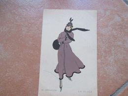 1917 Donnine Women Illustratore IL GHIACCIO La Glace Pattini Sciarpa Cappello - Altri