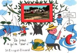 """CPSM - St ENOGAT - DINARD - FANTAISIE """"Pêche à La Ligne ! …"""" Illustration J.De PREISSAC - Edition JP - Autres Communes"""