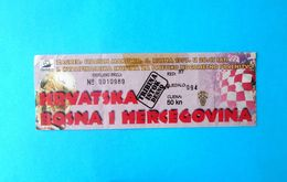 CROATIA V BOSNIA - 1998 FIFA WORLD CUP Qual. Football Match Ticket * Soccer Fussball Futbol Foot Calcio Kroatien Croatie - Tickets D'entrée