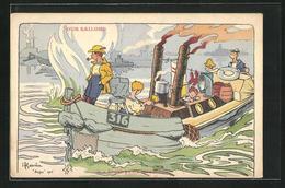 Künstler-AK Henri Gervèse: Our Sailors, Beach Party Steamboat - Illustrators & Photographers