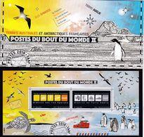 TAAF, 2019, 1055/56 Block 72,  MNH **, Post Ans Ende Der Welt Im Faltkarton / Le Courrier Au Bout Du Monde Dans Une Boît - French Southern And Antarctic Territories (TAAF)