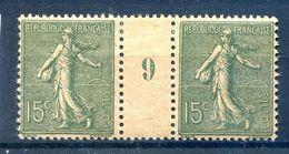 France N°130 Paire Millésime 9 (GC) - Neuf* - (F1397) - Millésimes