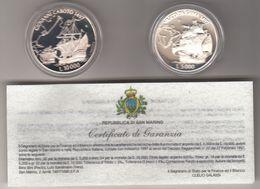 Grandi Navigatori: Caboto E Vasco De Gama. Dittico Monete D'argento In Confezione Ufficiale 1997 - Saint-Marin
