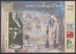 Moderne Privatpost: Citykurier Gera 2012. 100. Todestag Karl May, Schriftsteller, Mi Block 11 - Ecrivains