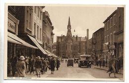 Photochrom Postcard, Luton Corn Exchange, Street, Shops, Bus, Car, Automobile. - Angleterre