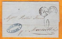 1866 - LAC En Français De Firenze Florence, Italie Vers Marseille, France Via Torino Turin - Ambulant - Marcophilie