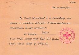 WW2 1944 CROIX ROUGE - GENEVE - Remerciements Pour Un Versement De 100 Frs - Documents Historiques