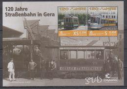 Moderne Privatpost: Citykurier Gera 2012. 120 Jahre Straßenbahn In Gera, Mi Block 13 - Tramways