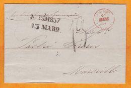 1857 - LAC En Français De Messina, 2 Siciles, Italie Vers Marseille, France - Taxe 13 Paquebot Français - Sicily