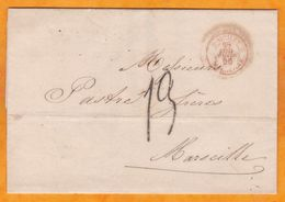 1856 - LAC En Français De Napoli Naples, 2 Siciles, Italie Vers Marseille, France - Taxe 13 Paquebot - Sicily