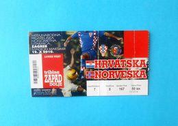 CROATIA V NORWAY - 2010 Internat. Friendly Football Match Ticket * Soccer Foot Fussball Calcio Croazia Kroatien Norge - Tickets D'entrée