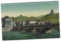 6780 - TORINO PONTE IN PIETRA SUL PO GRAN MADRE DI DIO E MONTE DEI CAPPUCCINI TRAM ANIMATA 1920 CIRCA - Bridges