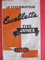 PETIT DEPLIANT - CYCLES EXCELL à NANCY - CYCLOMOTEUR EXCELLETTE TYPE JUNEX - Motos