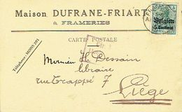 CP Publicitaire Germania FRAMERIES 1915 Vers LIEGE -Censure De MONS - Entête MAISON DUFRANE-FRIART à FRAMERIES - [OC1/25] General Gov.