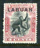Labuan 1900-02 New Colours & Designs - 4c Orangutan - P.14½-15 - MNG (SG 113a) - Bornéo Du Nord (...-1963)