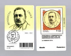 ITALIA : Tessera Fil.- Benedetto  Croce  -  €  0,95  -  Del   25.02.2016 - Filatelistische Kaarten