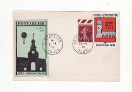 PONTARLIER AVIATION    Carte De La Fête Aéronautique Du 21 Juin 1936    Avec 2 Vignettes + 1 Timbre - Erinnophilie