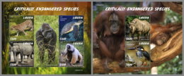 LIBERIA 2020 MNH Monkeys Affen Singes Endangered Species M/S+S/S - OFFICIAL ISSUE - DHQ2025 - Singes