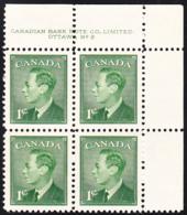 Canada 1950 MNH Sc #289 1c George VI Plate 2 UR - Plaatnummers & Bladboorden
