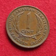 East Caribbean States 1 Cent 1957 KM# 2 *V2 British Caribbean Territories Caraibas Caraibes Orientales Eastern - Caribe Oriental (Estados Del)