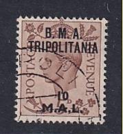 Tripolitania: 1948   KGVI 'B.M.A. Tripolitania' OVPT   SG T7    10l On 5d    Used - Tripolitaine