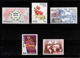 Monaco - 1989 : YV 1700 / 1701 / 1702 / 1703 / 1704  N** Cote 14,90 Euros - Monaco