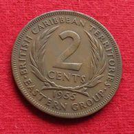 East Caribbean States 2 Cents 1955 KM# 3 *V1 British Caribbean Territories Caraibas Caraibes Orientales Eastern - Caribe Oriental (Estados Del)