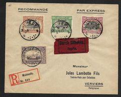OC 71/73 + OC75 Sur Lettre Recommandée De Mamedy Oblitération 17 VIII 1920 (Nic 822) - WW I